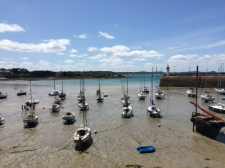 Low tide in a coastal town