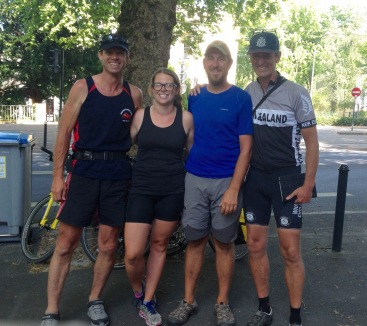 Saying goodbye to our Kiwi friends, Marty & Mike, outside of Nantes