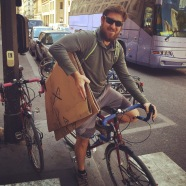 Brave, bold Adam - he biked nearly 2 miles with this bicycle box under his arm!