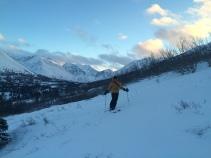 Beautiful Kimbrough, skiing in sunset