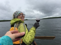 A little vin rouge to make the paddle easy