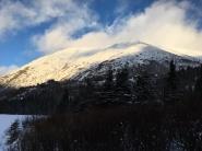 Sun-kissed peak from Swan Lake