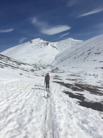 Adam and Stacia, skiing into Arctic Valley