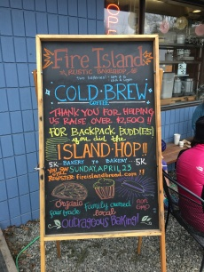 Signage at the Fire Island Hop finish line