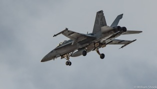 US Navy F-18 on approach at Nellis. Showing the Air Force how its done!