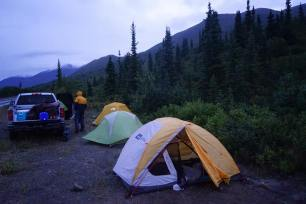 Tent city, at the base of our valley. Next to the truck for ease.