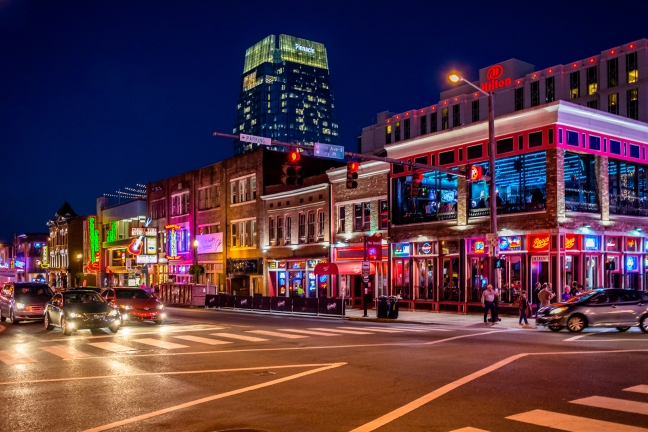 Broadway on Nashville at night